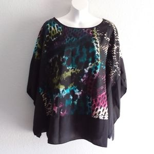 Beverly Drive multicolor poncho blouse size 2X